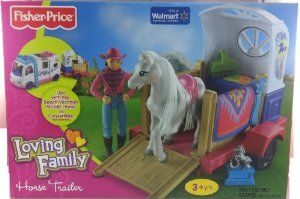 Fisher Price Loving Family Horse Trailer and Pony by Fisher Price. $29.95. Remove fence pieces from trailer to create a horse corral.. Includes Horse Brush, Ribbon, Trophy, Blanket & Trailer. Includes Adult Rider Doll & Horse. This horse and rider are the best of friends! They love to tour around the country with their trailer, competing in shows. Before each show, give the horse a good brushing and polish up the saddle. Then remove the trailer sides to use them f...