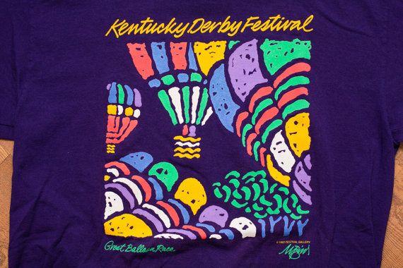Vintage 90s Kentucky Derby Festival T-Shirt, Great Hot Air Balloon Race, Purple Apparel
