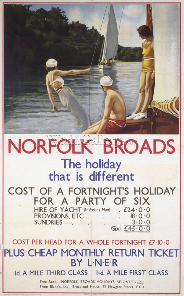 Norfolk Broads - The Holiday that is Different, In the days when it wasn't as popular. when room to sail ♥