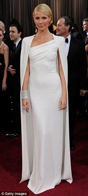 Tom ford white cape dress celebrity