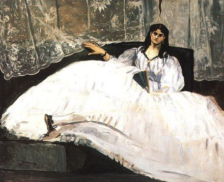 Jeanne Duval, Baudelaire's Mistress, Reclining (Lady with a Fan), 1862 by Edouard Manet   Oil Painting Reproduction   ncArtCo.com