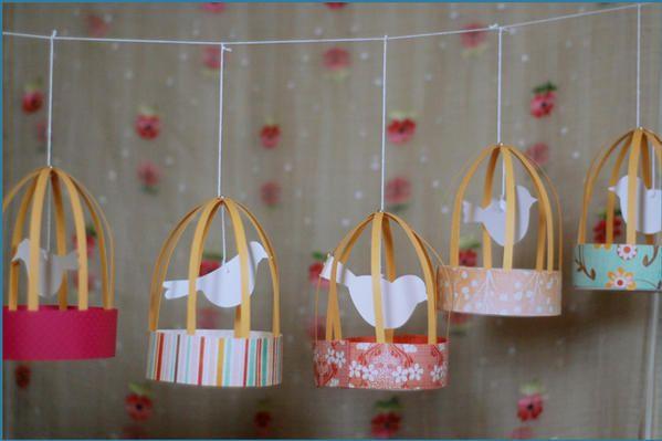 Paper bird cages.