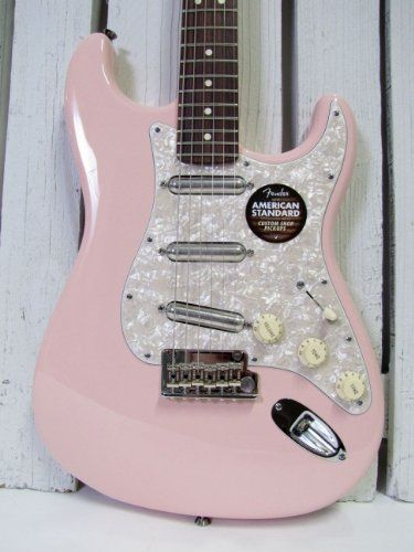 Fender FSR American Standard Lipstick Stratocaster guitar in Shell Pink with White Pearl pickguard