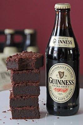 For St Patricks Day ~ Guinness Brownies   1 cup all-purpose flour  3/4 cup unsweetened cocoa  1/4 teaspoon salt  6 tablespoons unsalted butter, cut into cubes  8 ounces dark bittersweet chocolate, chopped  3/4 cup white chocolate  4 large eggs, room temperature  1 cup sugar  2 bottles Guinness Extra Stout beer  3/4 teaspoon vanilla  1 cup mini semi-sweet chocolate chips