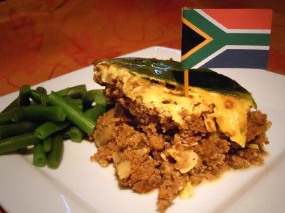 """South African Bobotie, I had this for lunch in South Africa, it's pretty good. But it is very filling. """"one serving"""" is more like 4 servings. :)"""
