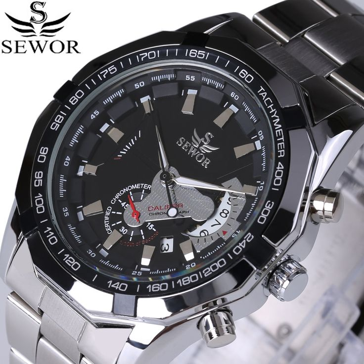 17.58$  Buy here - http://aliood.shopchina.info/1/go.php?t=32789120812 - 2017 SEWOR Top Brand Automatic Mechanical Watch Double second hand Date Fashion Men Dress Watches Full Steel Sports Male Clock  #aliexpresschina