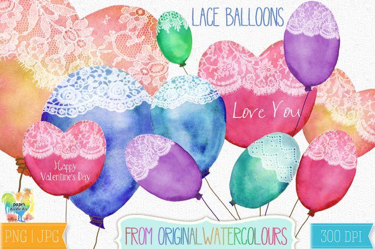 Watercolour Lace Balloons Design Set #valentines #valentine #balloons #valentine clip art #valentine printables