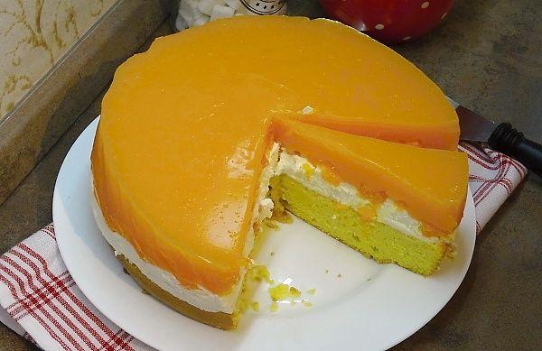 Mandarinkový dort s ovocnou pudinkovou polevou