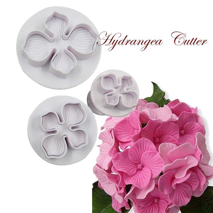 3Pcs/Set Hydrangea Fondant Cake Decorating Sugar Craft Plunger Cutter Flower Mold Fondant Gumpaste Marzipan Cutters NO.12T