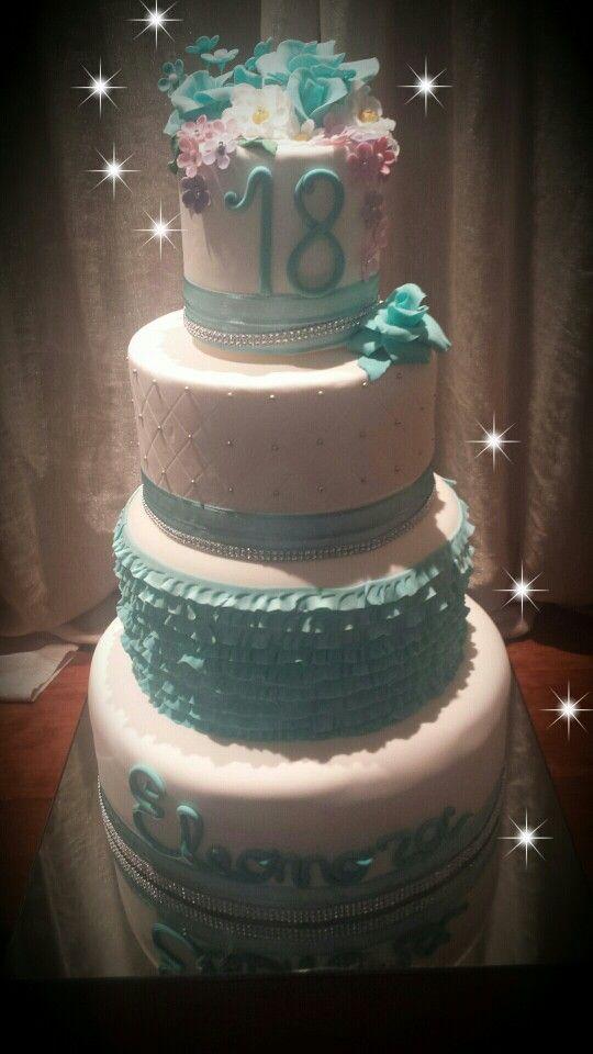 Blue Pearl Design On Cake