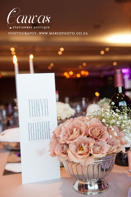 Tanya & Robbie's Long skinny menus - Canvas Stationery Boutique Photography by Mario Sales