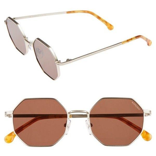 Women's Komono Monroe 51Mm Sunglasses ($120) ❤ liked on Polyvore featuring accessories, eyewear, sunglasses, white gold, octagon sunglasses, octagon glasses, komono sunglasses, lens glasses and geometric sunglasses
