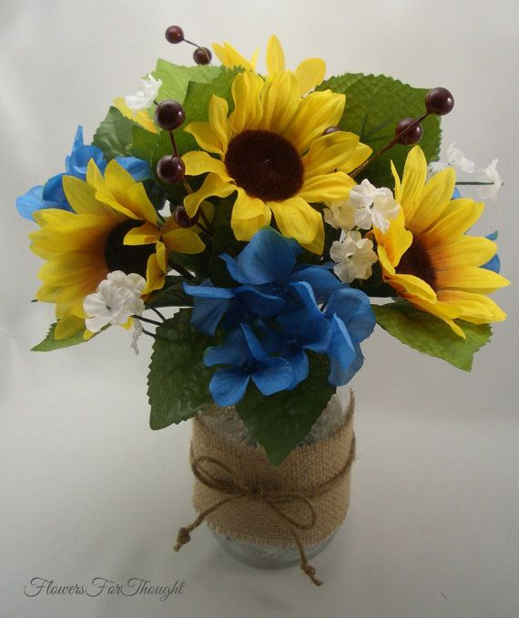 Sunflower Table Arrangement Wedding Reception by FlowersForThought