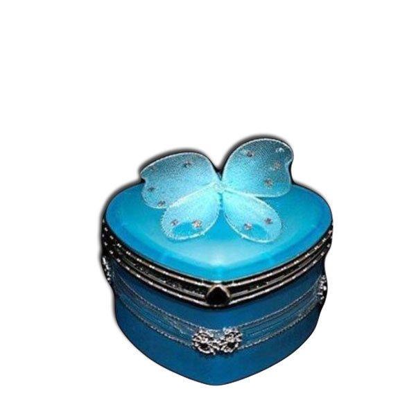 Blue jewellery box love heart shape butterfly design blue & silver gift deco