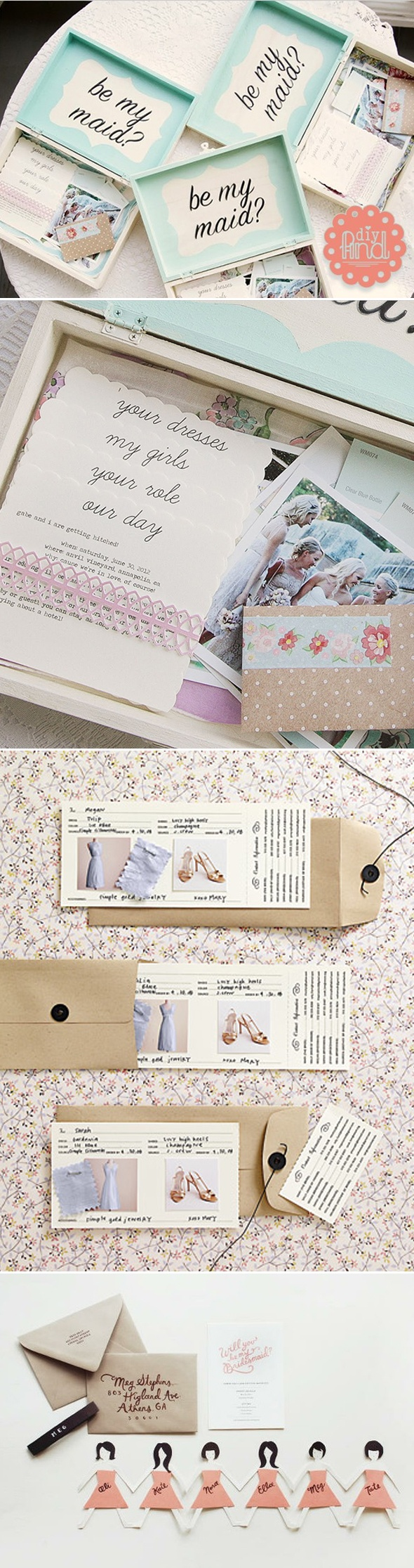 bridesmaid invitation. super cute invitation that includes a swatch the color/ fabric of the dress.