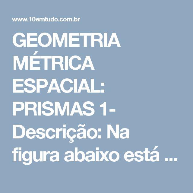 GEOMETRIA MÉTRICA ESPACIAL: PRISMAS  1- Descrição: Na figura abaixo está representado um prisma.    Temos:   //   r fura e    // r