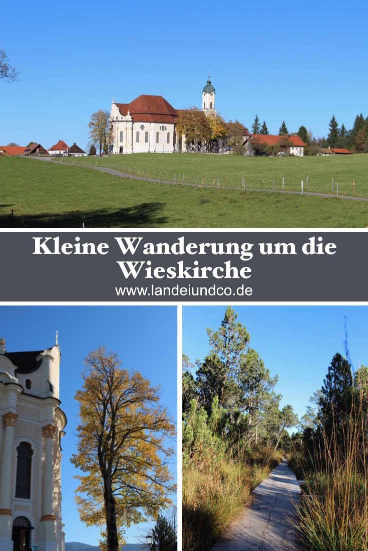 Kleine Rundwanderung vom Parkplatz der Wieskirche (Oberbayern - Steingaden) ausgehend durch Wald, über Wiesen und den Brettlesweg, schöne Aussichten, mit Kindern geeignet!