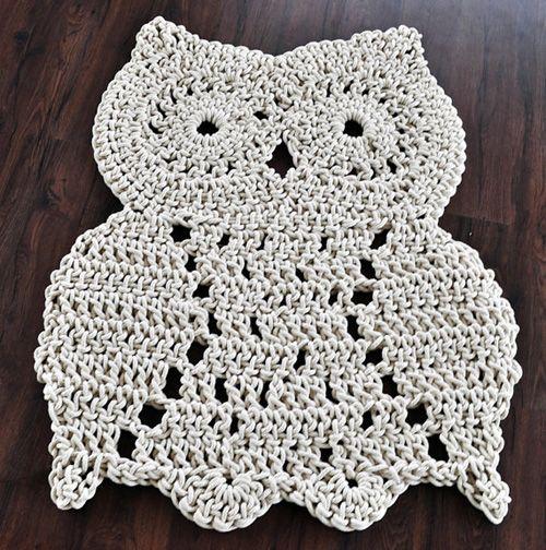 Crochet Owl Rug Pattern: Crochet Owl Shaped Rug Inspiration 4U // Hf