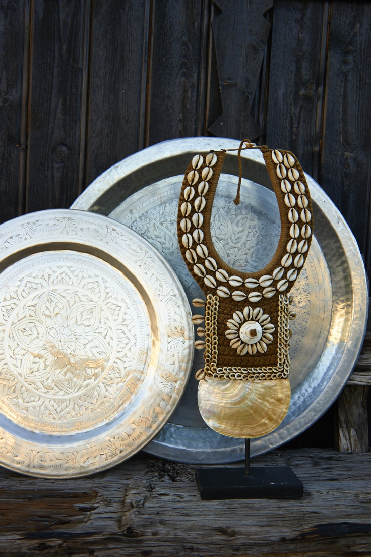 Silver brass tray & Shelldecoration