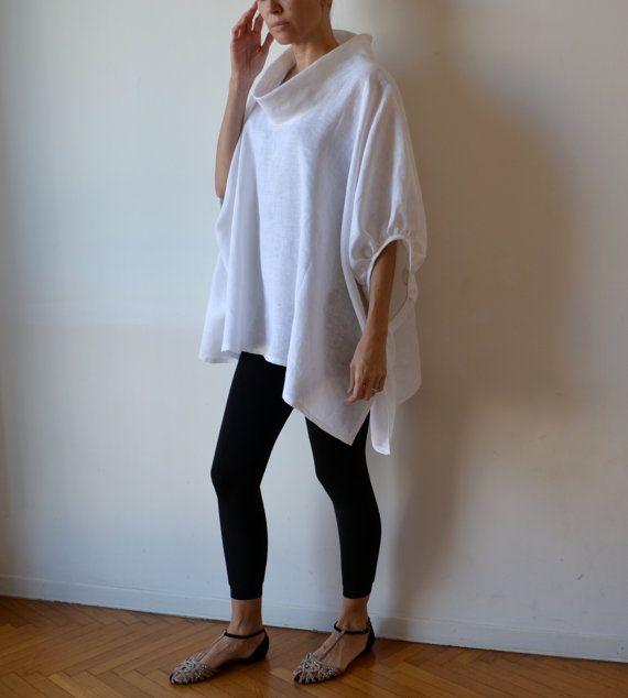 Tunica top bianco grembiule lino, più dimensioni e vestiti di maternità per le donne. Taglia unica.