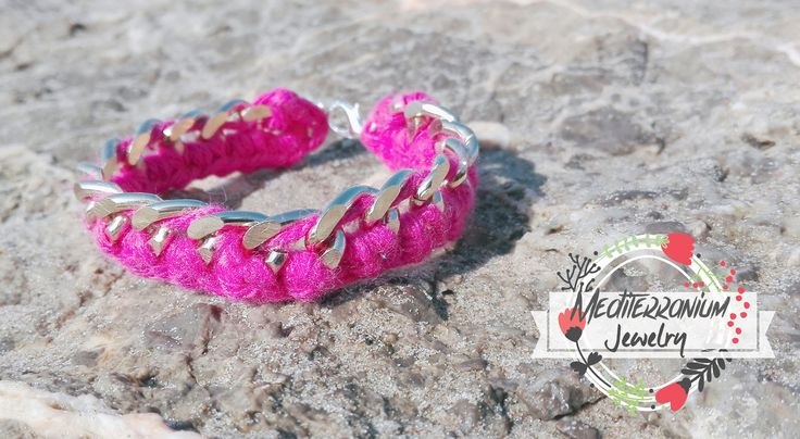 Gorgeous handmade fuchsia bracelet, made with crochet cotton wool and gold chain.