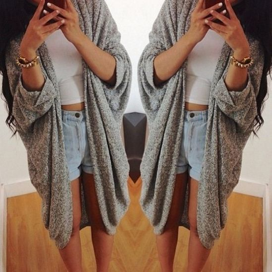 Gray Oversized Loose Knitted Ladies Cardigan