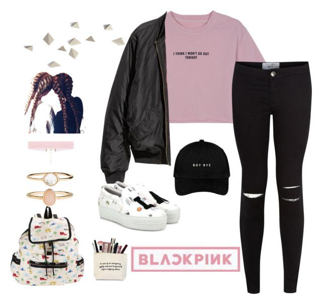rosé (blackpink) inspired outfit by dorkytaehyung on Polyvore featuring WithChic, New Look, Joshua's, LeSportsac, Accessorize, kpop, casualoutfit, whistle and BlackPink