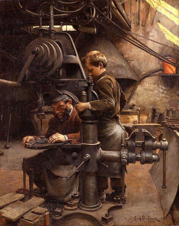 "Jean-Eugène Buland:  ""Un Patron"" or The lesson of the Apprentice,  1888,  oil on canvas, Dimensions: 102 × 82 cm (40.2 × 32.3 in), Current location: Nationalmuseum (Stockholm)"