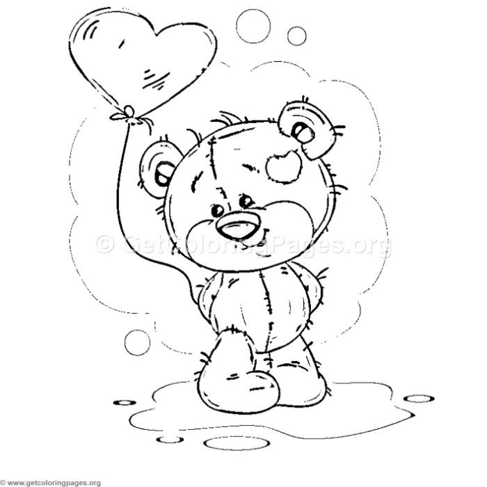 Free Instant Download Teddy Bear Love Collection 7 Coloring Pages