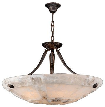 "Pompeii 5 Light Flemish Brass Finish Natural Quartz Stone Bowl Pendant 24"" Round - tropical - Pendant Lighting - Worldwide Lighting Corporation"