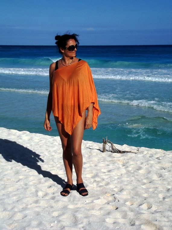 Beach Poncho Orange Tencel Swimsuit Cover Versatile by UchiWraps