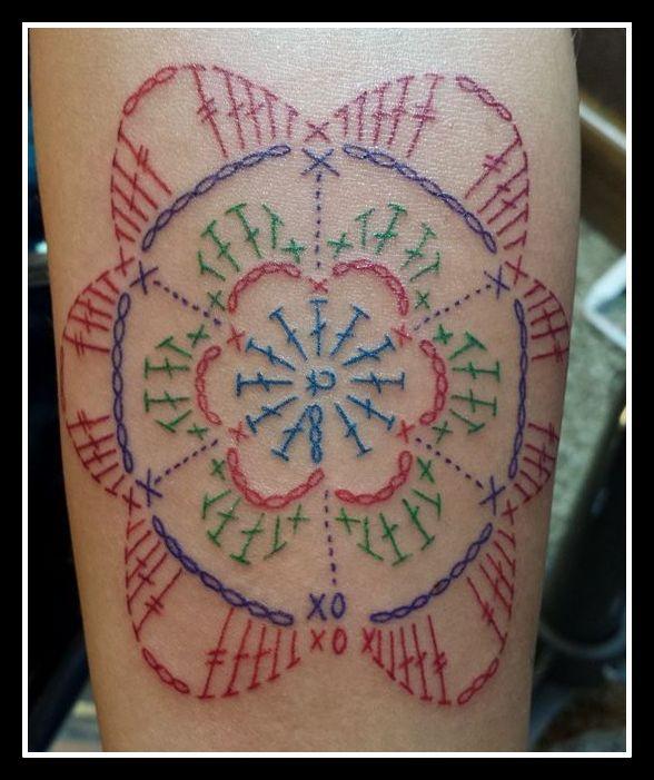 Crochet, Tattoo, Flower Diagram, Flower Motif