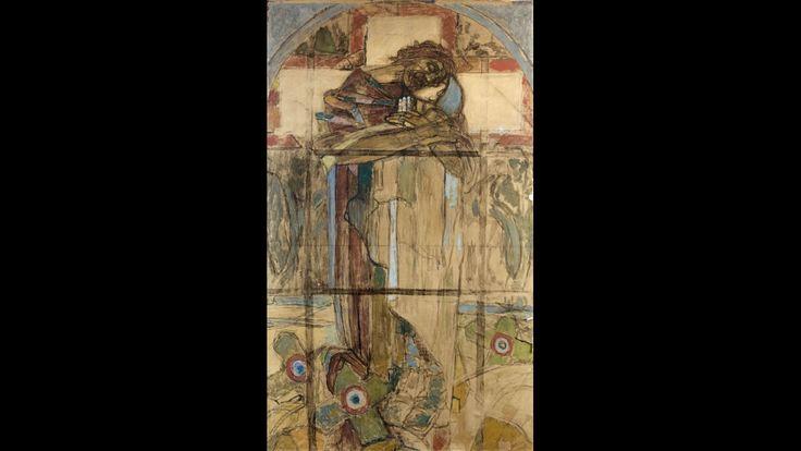 La Rédemption, 1927, Esquisse du vitrail, Technique mixte sur papier marouflé sur toile.
