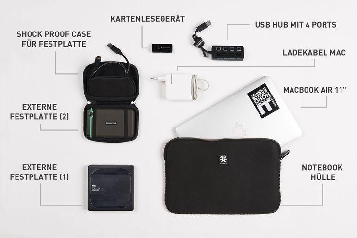 Technischer Kram für Reisen: Laptop, Festplatten, USB Adapter, ...