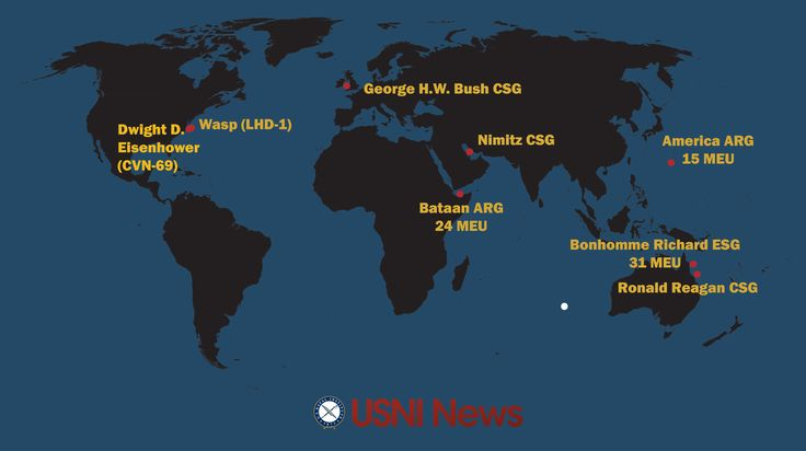 These are the approximate positions of the U.S. Navy's deployed carrier strike groups and amphibious ready groups throughout the world as of July 31, 2017. In cases where a CSG or ARG is conducting disaggregated operations, the map reflects the location of the capital ship. USNI News Fleet Tracker: July 31, 2017 - USNI News