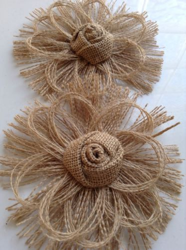 Rustic Burlap Flower Set of 2 Home Decor Vintage Country | eBay