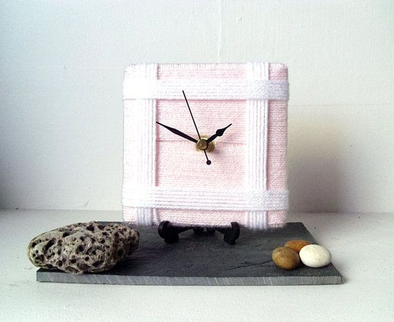 Wool Desk Clock / Small Wall Clock Baby Pale Pink by NaturalClocks, £10.00