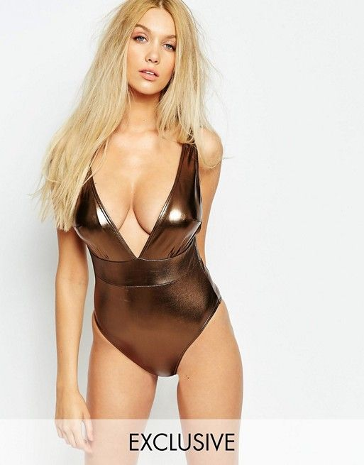 Wolf & Whistle | Wolf & Whistle Metallic Swimsuit B/C - E/F Cup