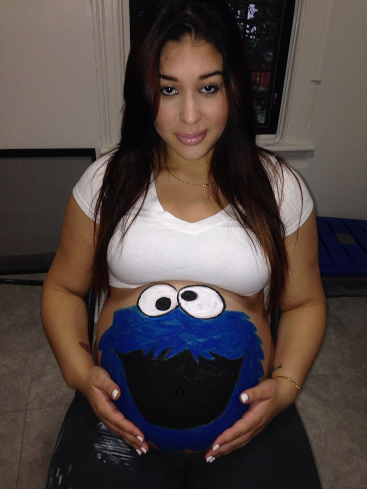 cookie monster belly painting - Pregnant Halloween Painted Bellies