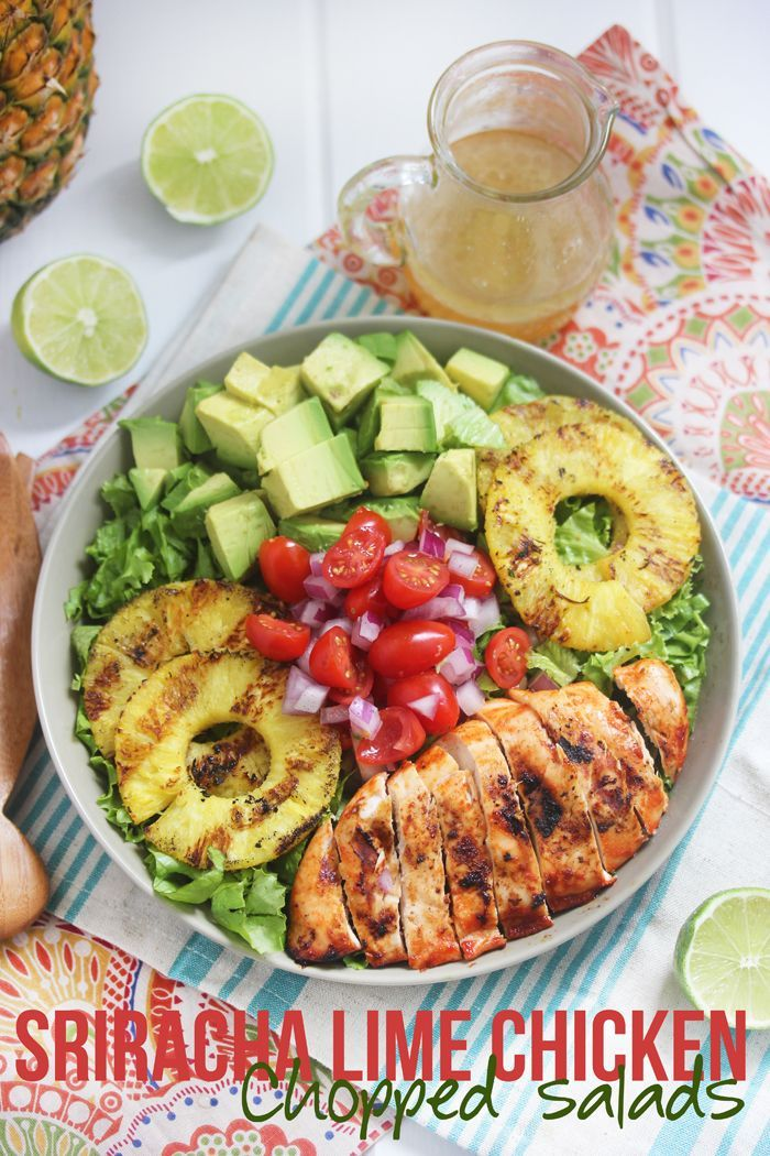 Sriracha Lime Chicken Chopped Salad and Lime Vinaigrette #grilling #healthy #salads