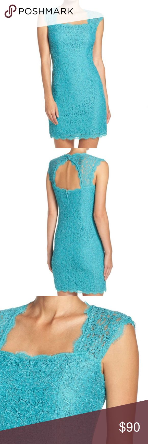 Adrianna Papell Lace Sheath Dress This is a gorgeous sheath dress with lace overlay. 👗 Jade color. Cap sleeves. Envelope back cutout detail. Hidden back zip and rouleau-button closure. Fully lined. 36 inch length. This is the perfect dress for spring/summer special occasions!! Adrianna Papell Dresses