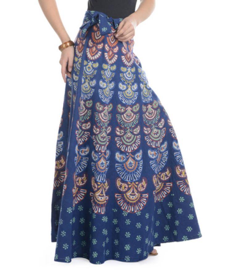 Long Wrap around Skirts | Buy Blue Cotton Printed Wrap Around Long Skirt Online