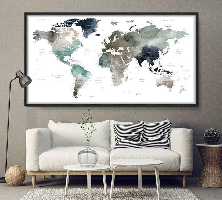 World map watercolor wall art, map poster, map art print, office decor, home wall decor, map painting, apartment wall art, modern print -L164
