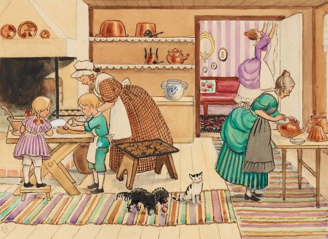 Elsa Beskow Preparing for Christmas~ lovely drawing and also fun glimpse interior