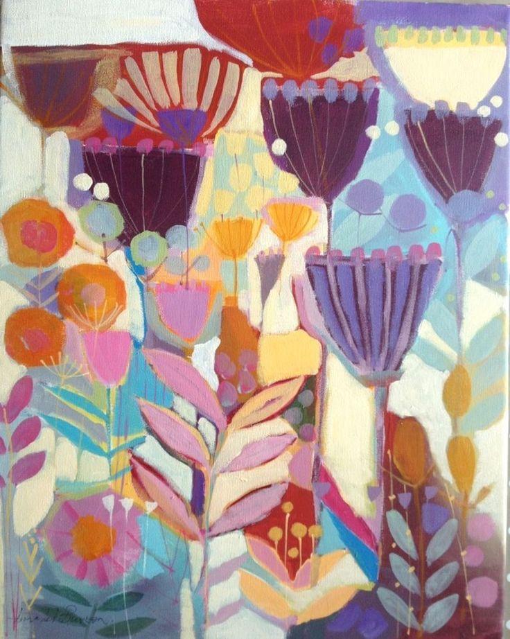 Original Acrylic Contemporary Painting on Canvas - Plantlife- by Annabel Burton
