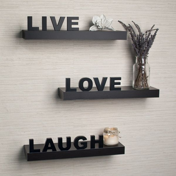 Laminate Live, Love, Laugh Inspirational Wall Shelves (Set Of 3) Living Room Part 93