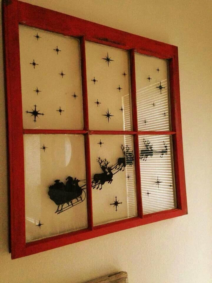 What a fun vinyl decal on an old window! Come grab a window from ReHouse, some red paint and look on etsy for a great Christmas vinyl scene.