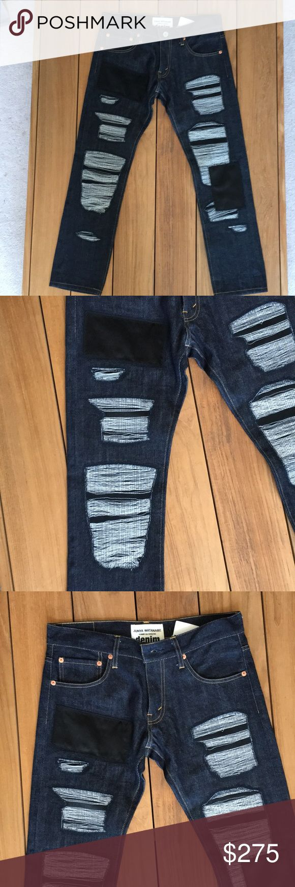 NWT Junya Watanabe COMME des GARCONS denim Small Zoom for details; patchwork design  Cropped Jeans Innovative contrasting texture sought after design  Pant size: 31/32 cropped length Made in Japan Junya Watanabe Comme des Garcons Jeans