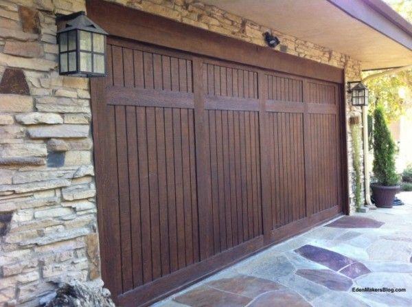 garage door makeover using vinyl siding strips - Eden Makers