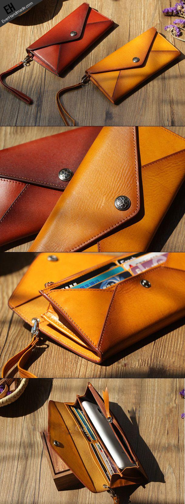 Handmade Genuine leather bifold envelope clutch purse long wallet purse clutch women